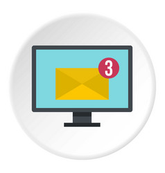 email messages on computer monitor icon circle vector image vector image