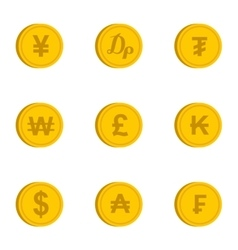 Finance icons set flat style vector