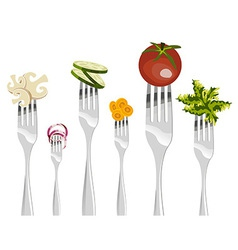 Forks and vegetables sequence vector