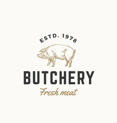 Fresh meat butchery abstract sign symbol vector