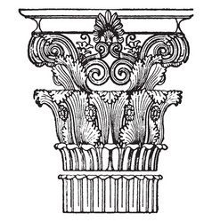 Greek capital corinthian vintage engraving vector