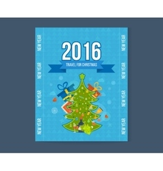 Green stylized Christmas tree New Year greeting vector image