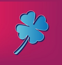 Leaf clover sign blue 3d printed icon on vector