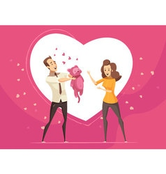 Love Gifts For Couples Valentine Cartoon Card vector image
