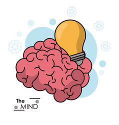 Mind brain bulb idea inspiration energy design vector