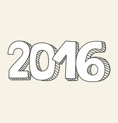 New Year 2016 hand drawn sign vector image