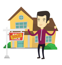 real estate agent with sold placard vector image