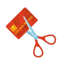 Red credit card and scissors vector