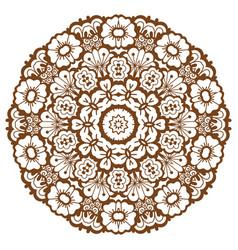 Round brown mandala vector