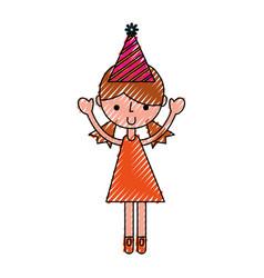 Scribble party girl cartoon vector