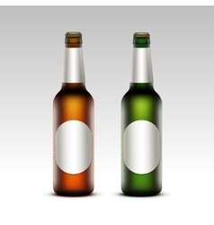 Set of glass frosty bottles light beer with labels vector