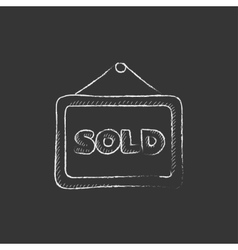 Sold placard Drawn in chalk icon vector image vector image
