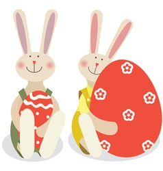 Two easter rabbits vector image