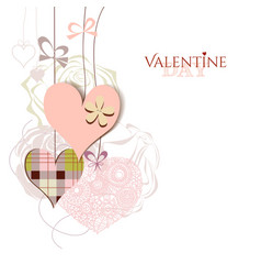 Valentine card cute hanging hearts vector image