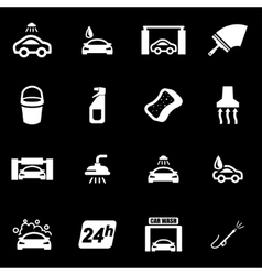 white car wash icon set vector image vector image