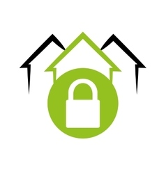 Home security system emblem lock vector