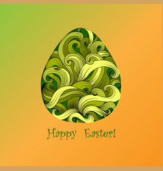 Greeting card of easter with color egg vector
