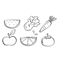 Doodle sets of fruits vector image