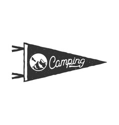 Camping pennant template tent and text sign vector