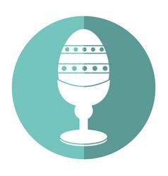 easter egg wooden base decorative shadow vector image