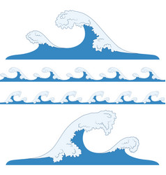 Splashes of sea waves vector