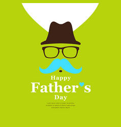 Happy father day black hat and blue mustache vector
