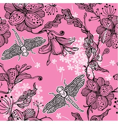 Seamless Floral Pattern With hand-drawn flowers an vector image