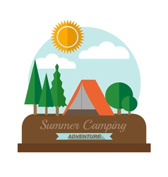 Summer camping adventure landscape vector