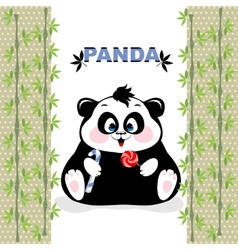 Fat panda with candy vector