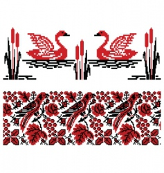 Ukrainian embroidery swans and nightingales vector