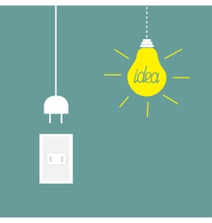 Hanging yellow light bulb rosette cord plug idea vector