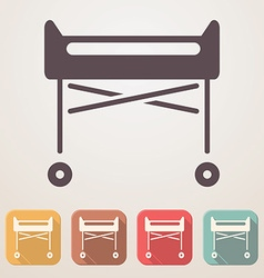Hospital crib flat icon set in color boxes with vector