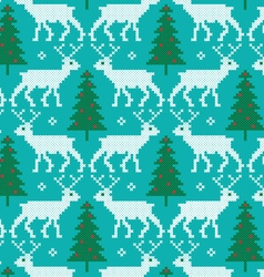 Embroidered reindeer and trees pattern vector