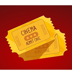 Two yellow cinema tickets on red backgrou vector