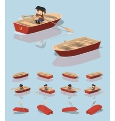 Low poly red punt boat vector