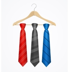 Tie set on wooden hanger vector