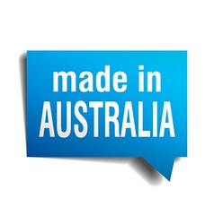 Made in australia blue 3d realistic speech bubble vector