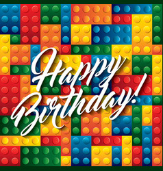 Lego pieces icon happy birthday design vector