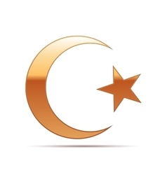Gold islam symbol icon on white background vector