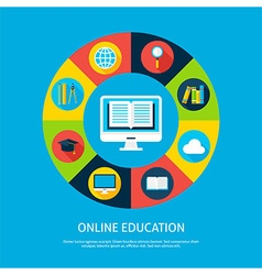 Online education flat infographic concept vector