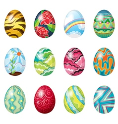 A dozen of colorful easter eggs vector image vector image