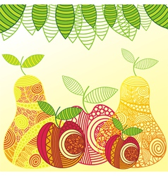 Apples and pears pattern vector image vector image