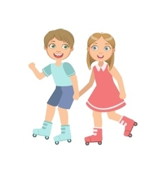 Boy And Girl Roller Skating Holding Hands vector image vector image