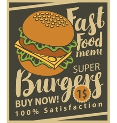 cheeseburger on retro style vector image vector image