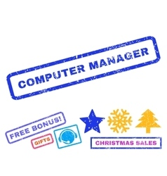 Computer manager rubber stamp vector