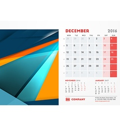 December 2016 desk calendar for 2016 year vector