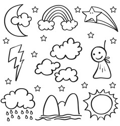 Doodle of weather set cloud thunder sun vector