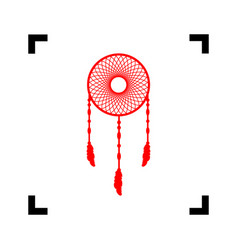 dream catcher sign red icon inside black vector image vector image