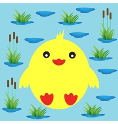 Duckling on a background of lake and reeds vector image