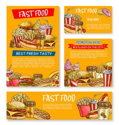Fast food restaurant sketch posters vector